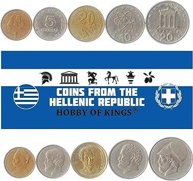 5 Monedas Diferentes: Moneda extranjera Griega Antigua Coleccionable para coleccionar Libros, Juegos de Dinero únicos y mundiales, Regalos para coleccionistas: Amazon.es: Juguetes y juegos