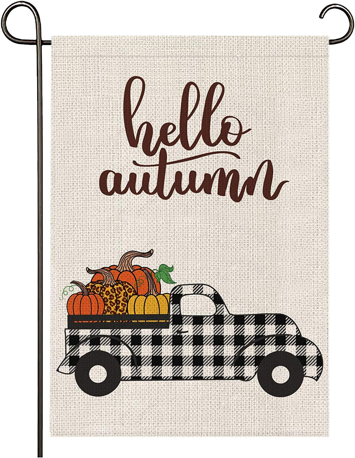 onetoze Fall Garden Flag Hello Autumn Garden Flag Vertical Double Sided, Pumpkin Patch Car 12.5X18inch Welcome Garden Flag, Premium Burlap Weather and UV Resistant for Yard Outdoor Decoration