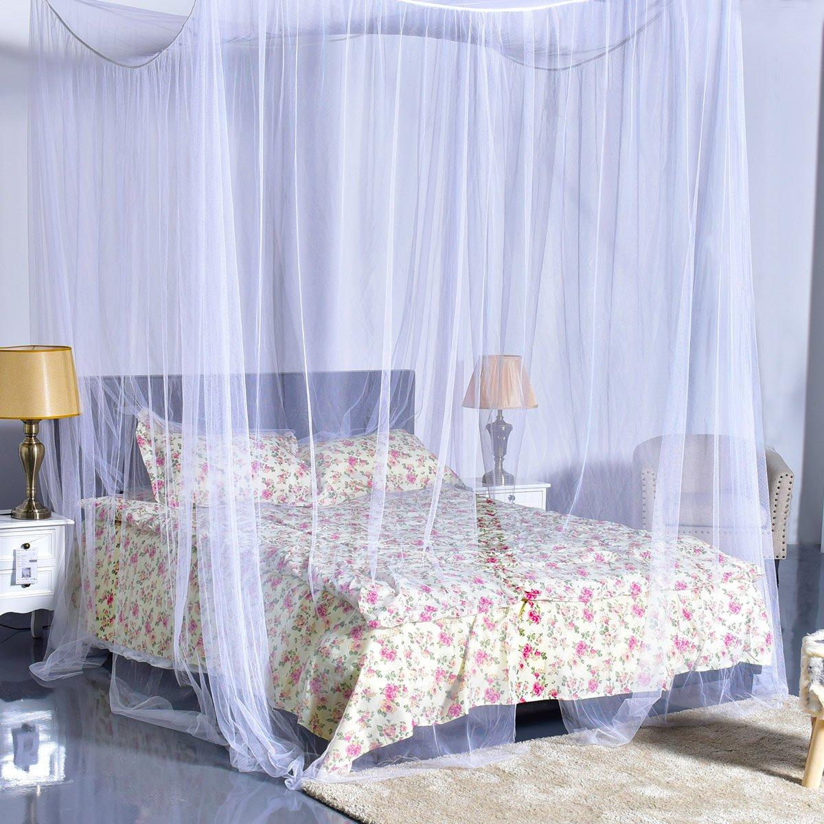 Goplus 4 Corner Post Bed Canopy Mosquito Net Full Queen