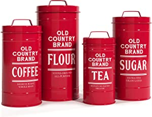 """Barnyard Designs Decorative Nesting Kitchen Canister Jars with Lids, True Red Metal Rustic Vintage Farmhouse Container Decor for Flour Sugar Coffee Tea Storage, Set of 4, Largest is 5.5"""" x 11.25"""""""