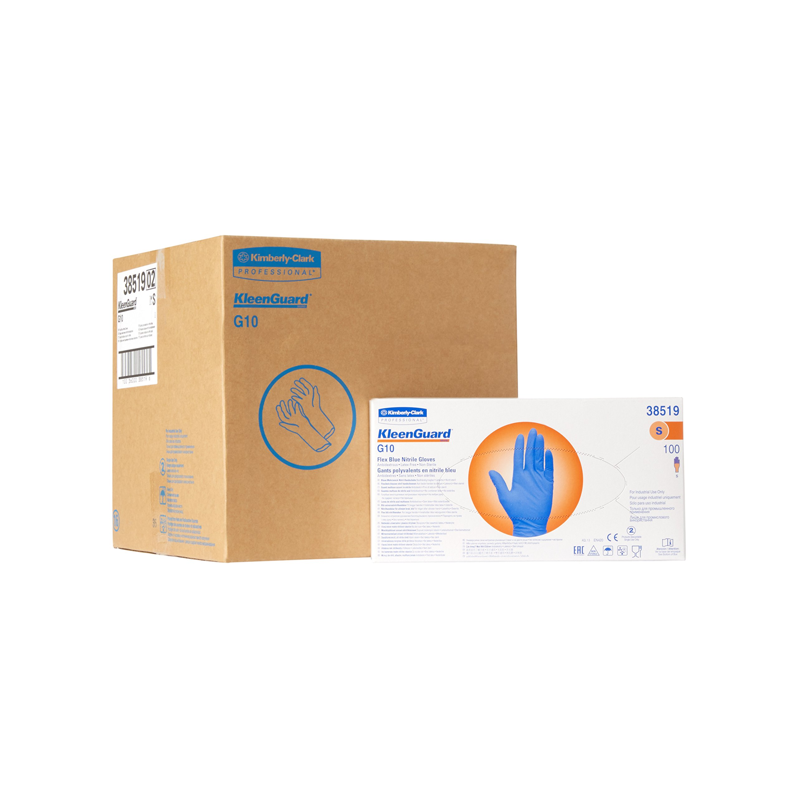 "Kleenguard G10 Flex Blue Nitrile Gloves (38520), Medium, Powder-Free, 2 Mil, 9.5"", Food Handling, Ambidextrous, Thin Mil, 100 Gloves/Box, 10 Boxes/Case, 1,000 / Case"