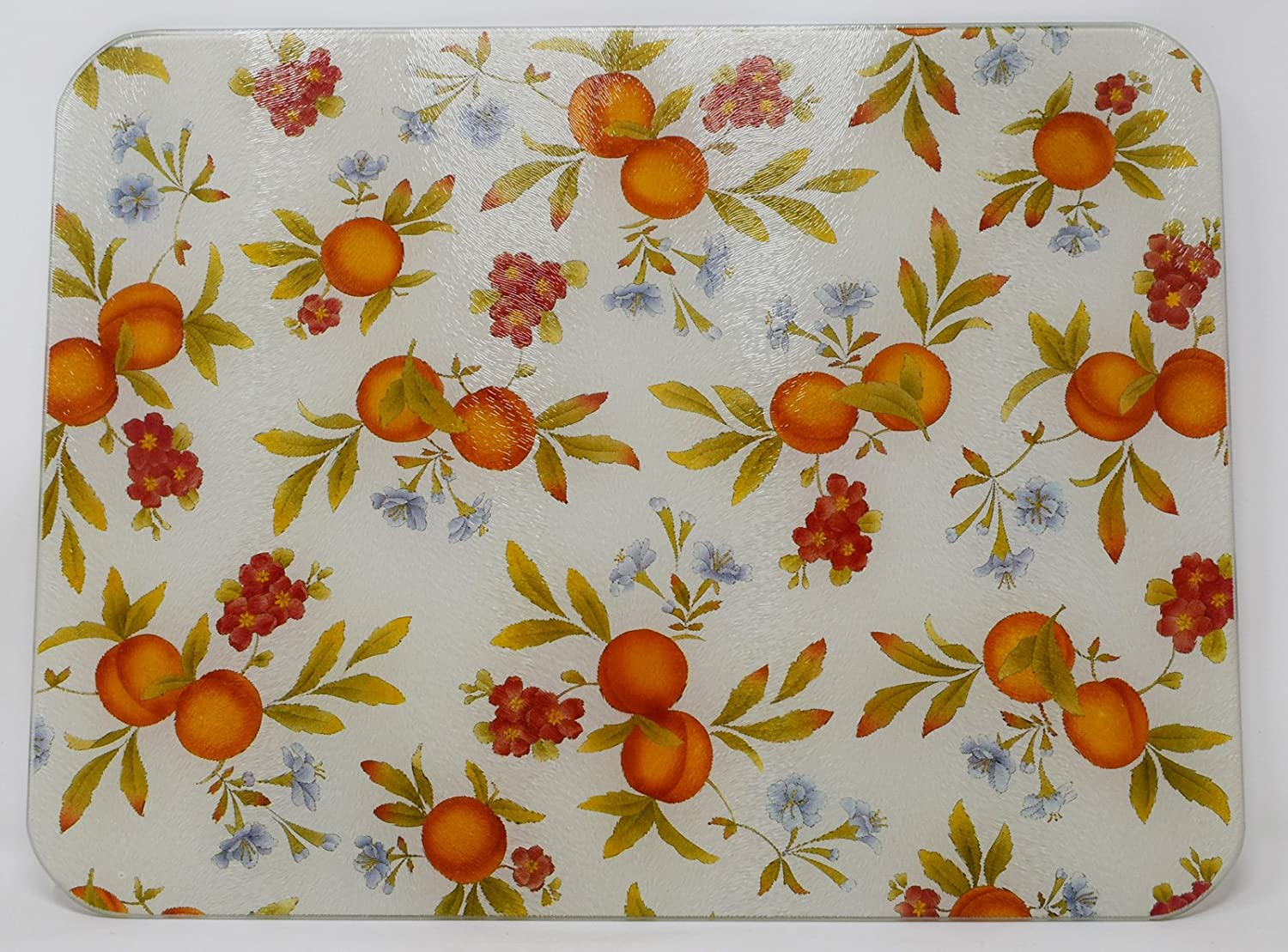 Premium Large Glass Chopping Board - Peaches & Cream Design Kitchen Worktop Saver Protector