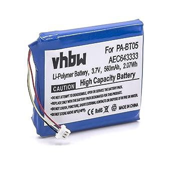 vhbw Litio polímero batería 560mAh (3.7V) para Auriculares inalámbricos Cascos Beats Studio 2.0