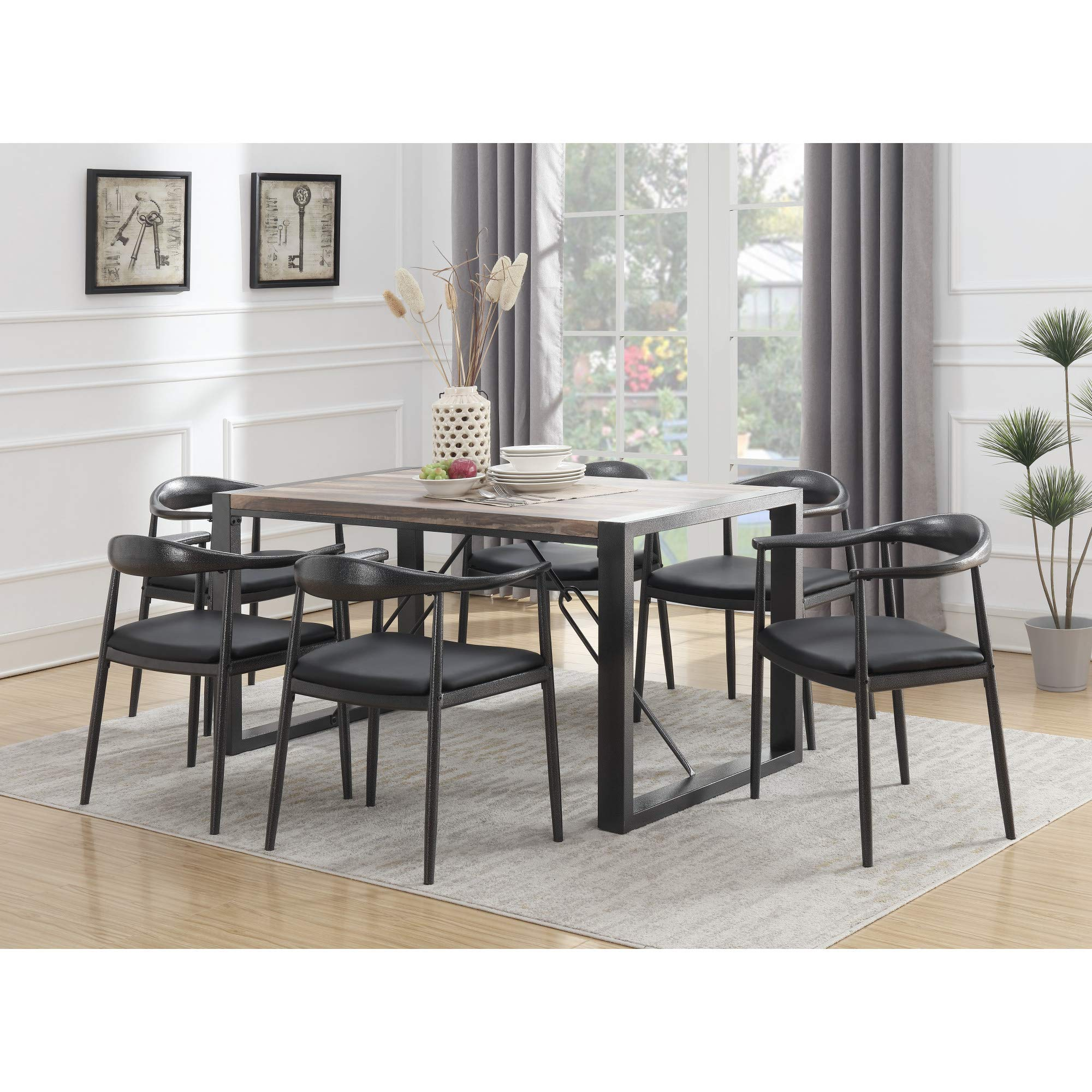 Taras 59'' Dining Table in Jet Black with Wood Veneer Top And Metal Base, by Artum Hill by Artum Hill (Image #3)