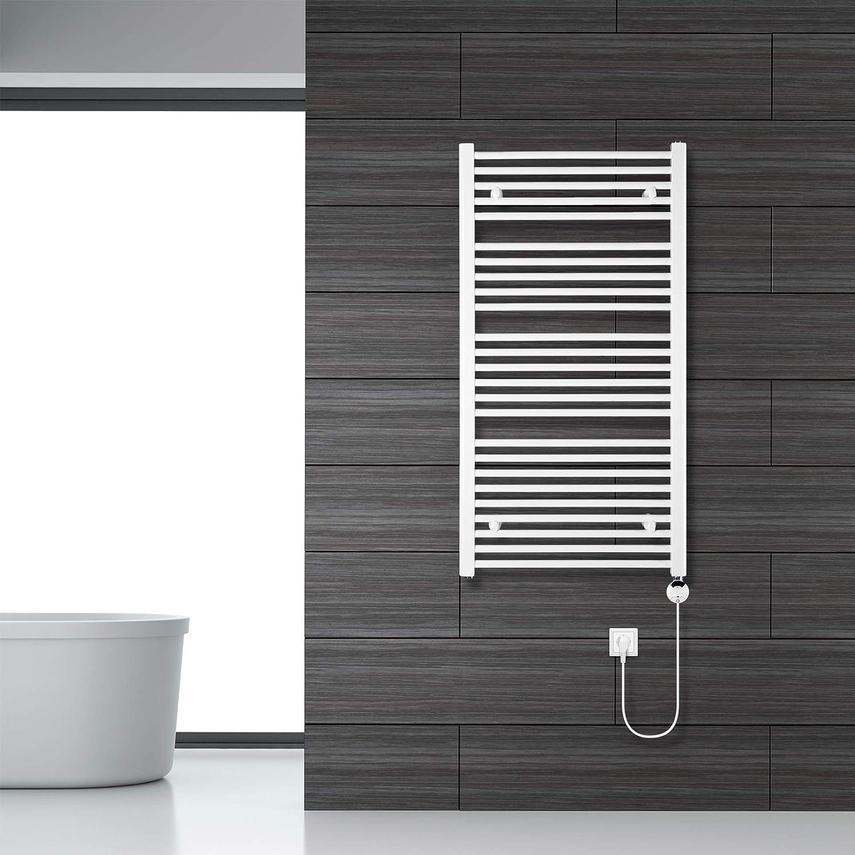 VEVASTO Badheizk/örper elektrisch 1.142 x 600mm Handtuchheizk/örper 600 Watt Handtuchtrockner wei/ß mit Smart Program Thermostat und Fernbedienung