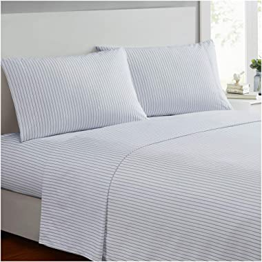 Mellanni Bed Sheet Set - Brushed Microfiber 1800 Bedding - Wrinkle, Fade, Stain Resistant - 4 Piece (Queen, Pin Stripe Gray)