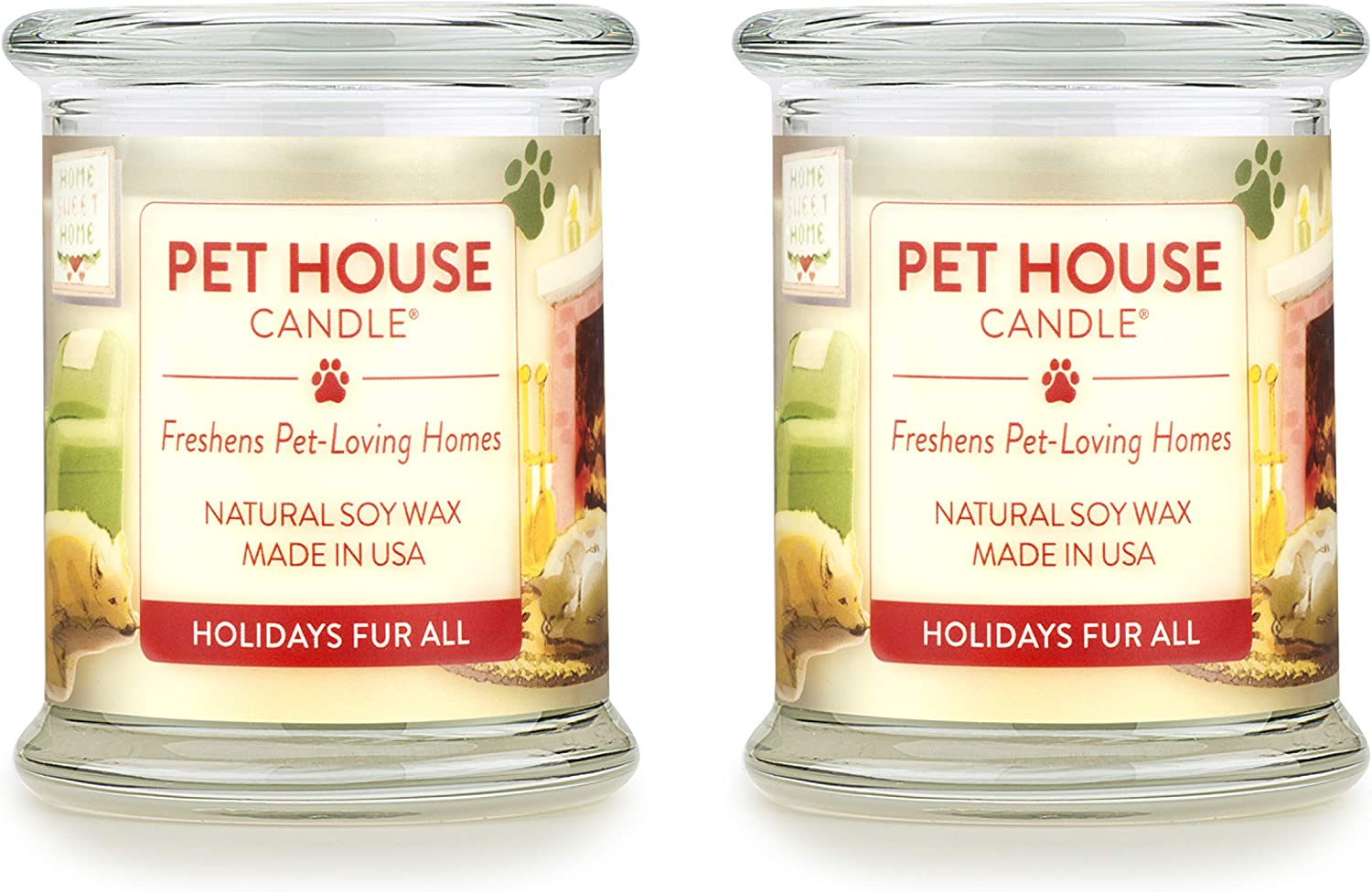 One Fur All 100% Natural Soy Wax Candle, 20 Fragrances - Pet Odor Eliminator, Up to 60 Hours Burn Time, Non-Toxic, Eco-Friendly Reusable Glass Jar Scented Candles – Holidays Fur All - Pack of 2