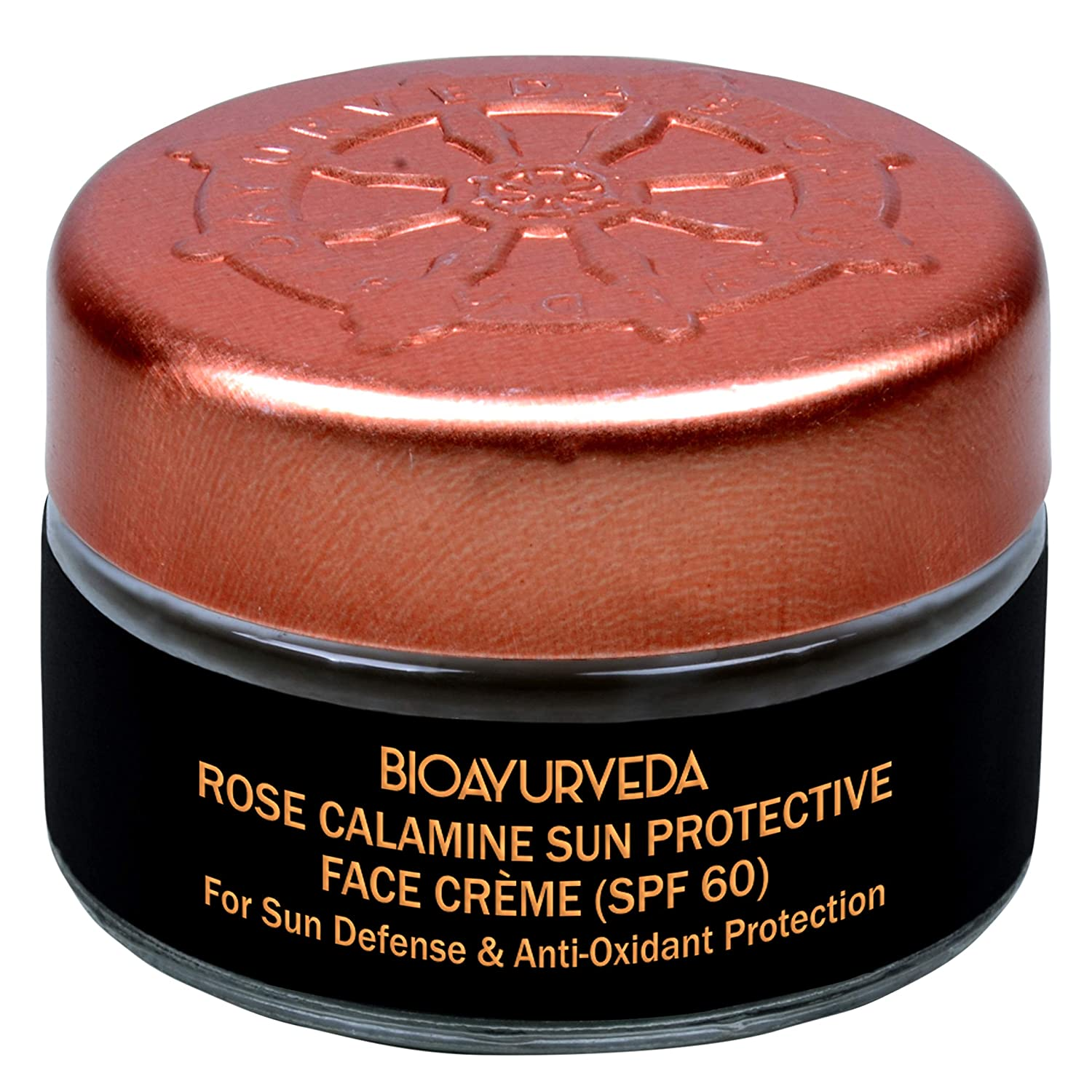 BIOAYURVEDA Rose Calamine Sun Protective Face Cream with SPF 60 and Broad Spectrum (UVA/UVB) Protection, Skincare With Organic Ingredients, Facial Sunscreen for Sensitive Skin, Fine Lines| (0.7 Oz)