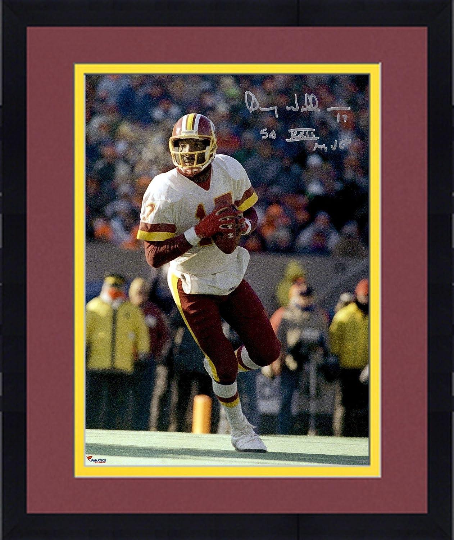 Framed Doug Williams Washington Redskins Autographed 8 x 10 White Running Photograph withSB XXII MVP Inscription Fanatics Authentic Certified