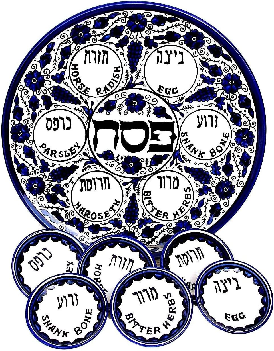 Max 42% OFF Ranking TOP6 Round Armenian Ceramic Seder Plate with Desi 6 Blue Bowls Grape
