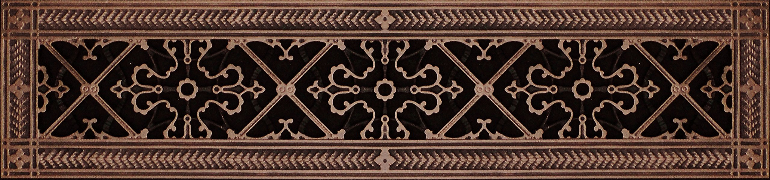 """Decorative Grille, Vent Cover, or Return Register. Made of Urethane Resin to fit over a 6''x24'' duct or opening. Total size of vent is 8""""x26''x3/8'', for wall and ceiling grilles (not for floor use)."""