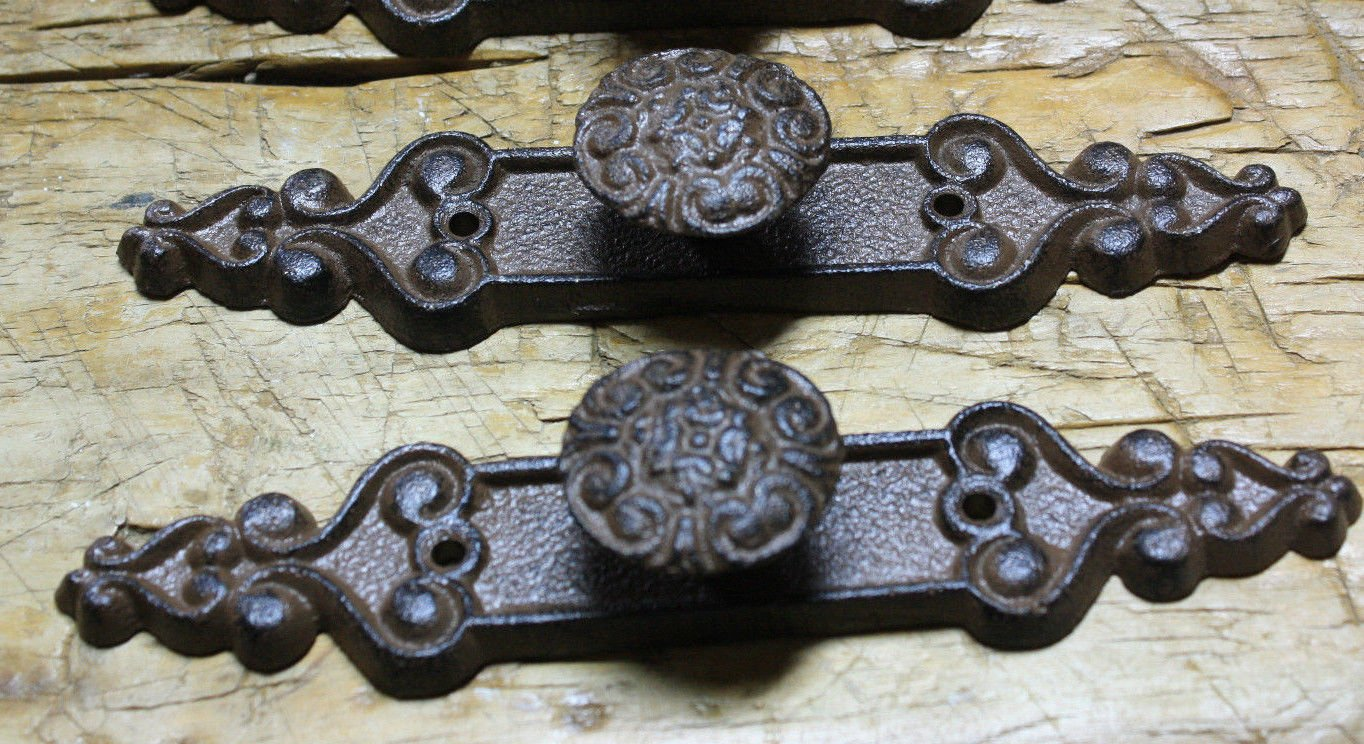 2 Cast Iron Antique Style Barn Handle Drawer Pull Shed Door Handles Back Plate by NONNO&ZGF