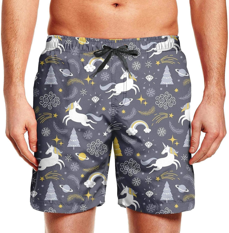 Men Cartoon Cats Unicorns Active Polyester Quick Dry Summer Swimming Shorts