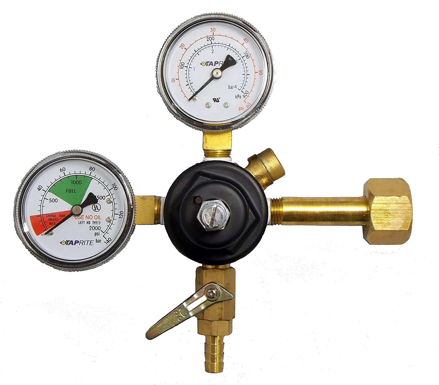 TAPRITE E-T742 CO2 Primary Beer Dual High Pressure Gauge New - CGA 320 Inlet 5/16