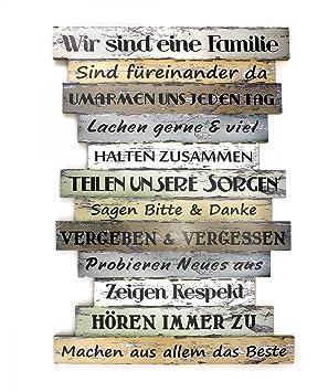 Bild Wandbild Familie Spruch Aus Holz 33 X 51 Cm Groß Weiß Grün Braun Familienregeln Holzbild Wanddekoration Wohnidee Für Zuhause