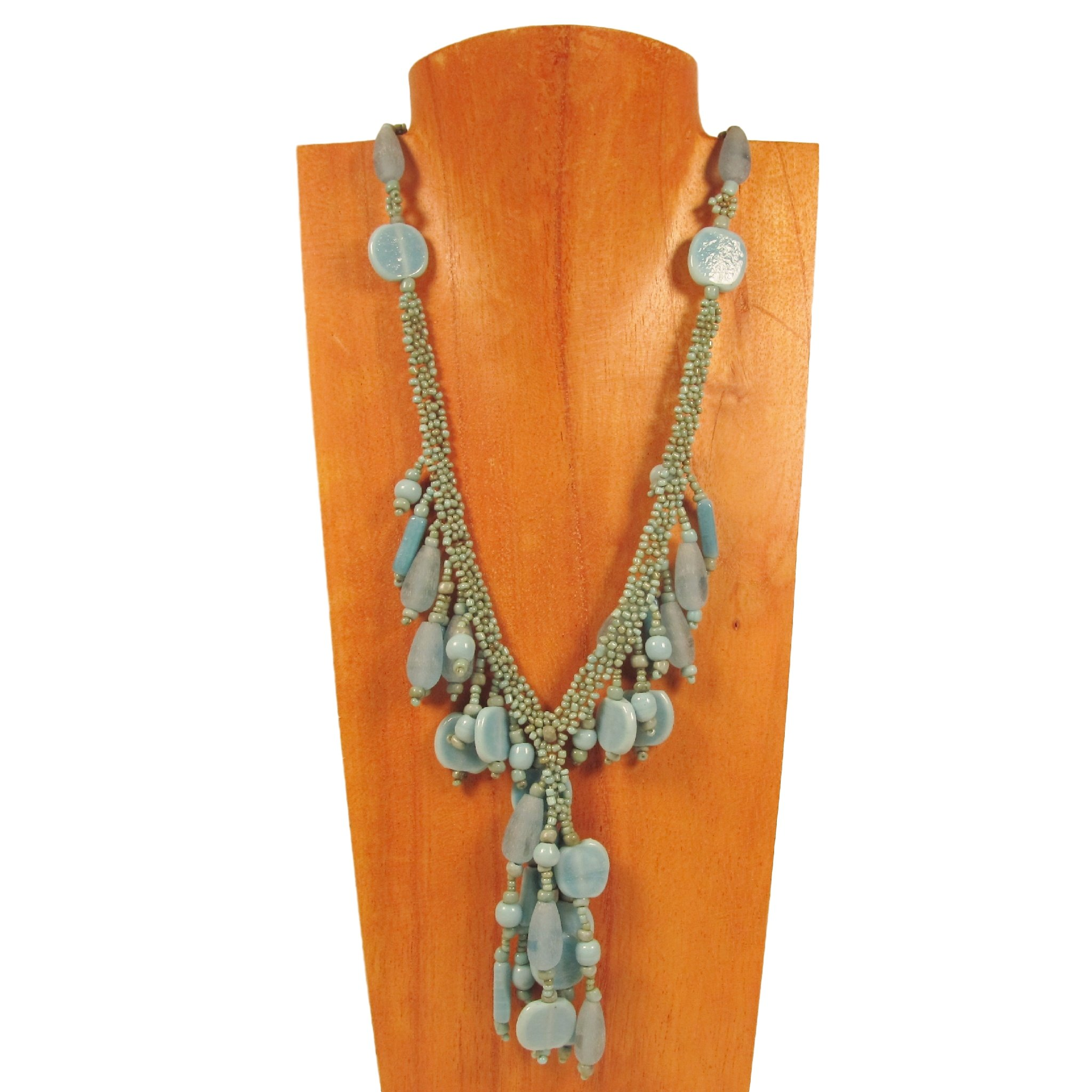 16'' Turquoise Color Raquel Style Dangle Choker Necklace Bali Bay Trading Co