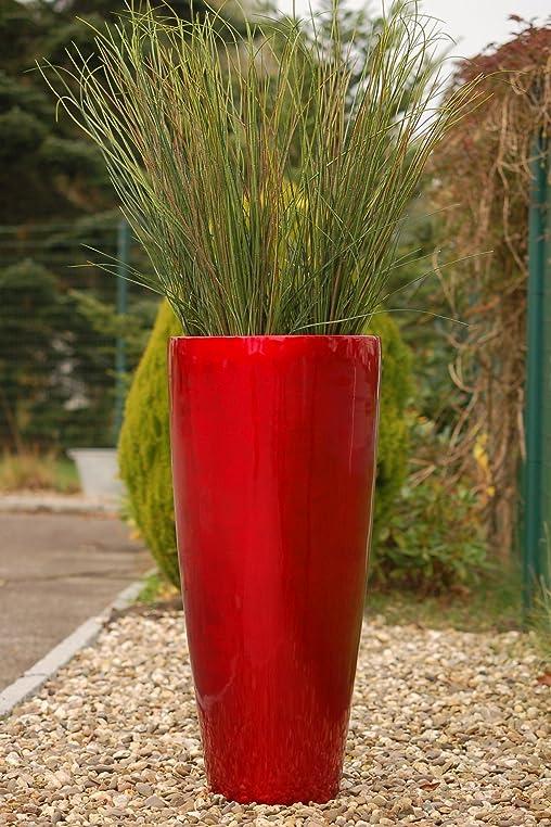 Pflanzkübel Pflanzgefäß Blumenkübel exklusiv Fiberglas Rot \