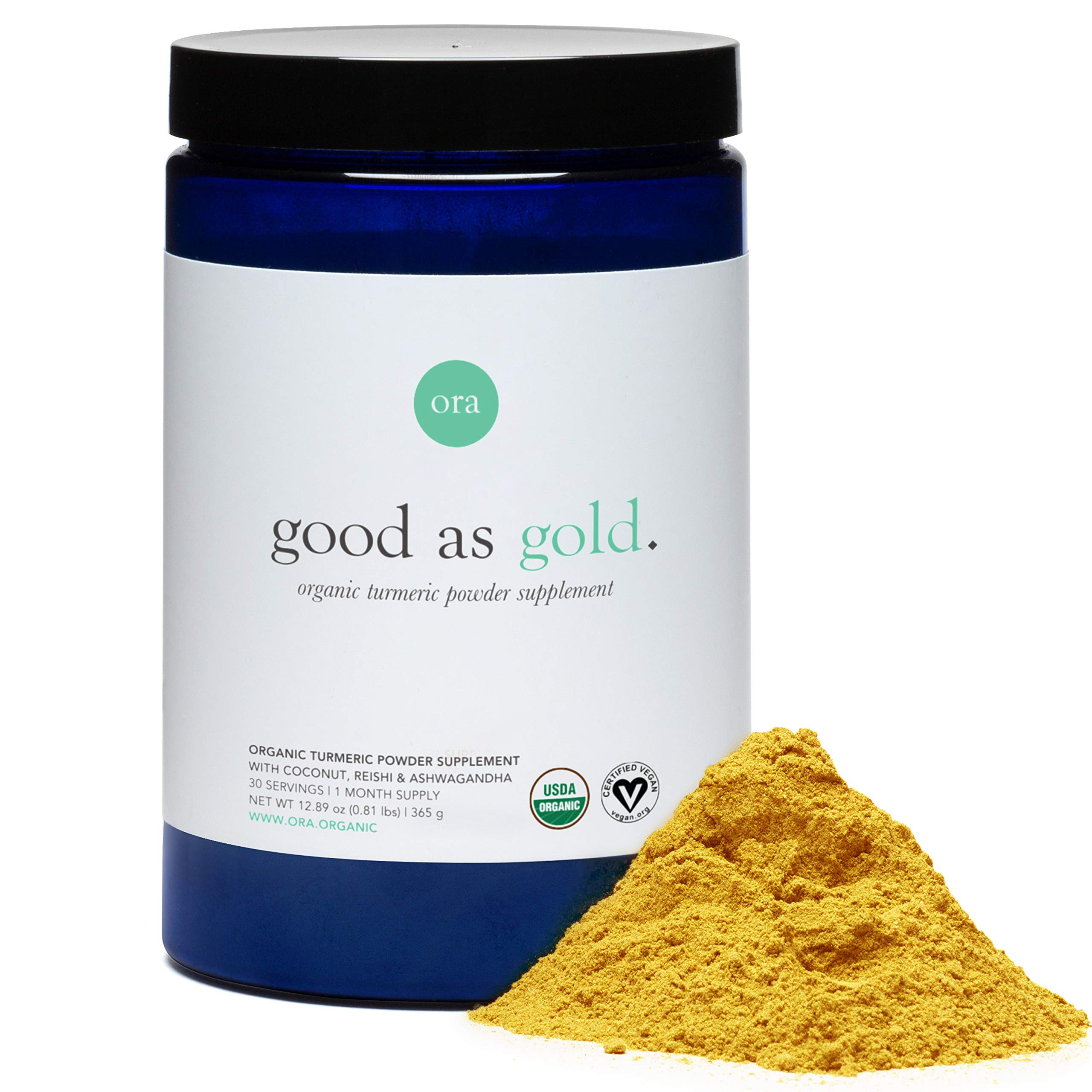Ora Organic Golden Milk Turmeric Powder Supplement with Ashwagandha, Reishi and Ginger, Vegan, Non-GMO - Full Size