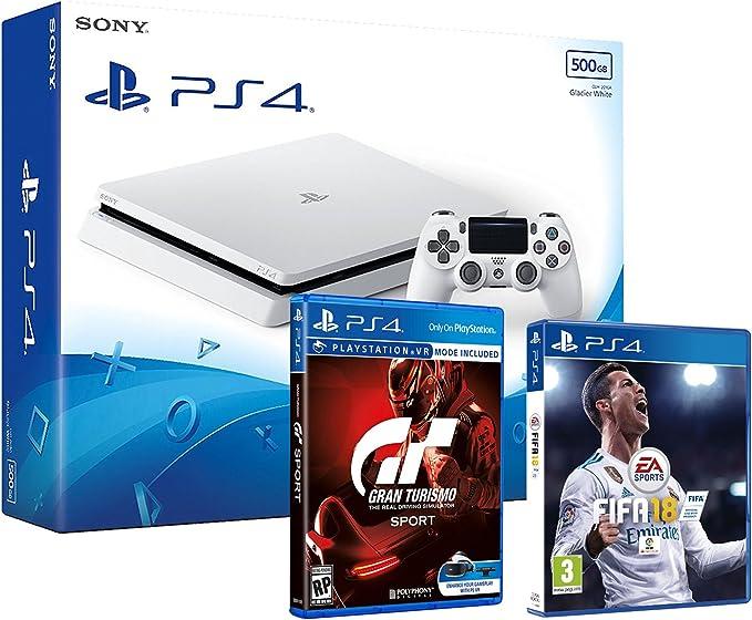 PS4 Slim 500Gb Blanca Playstation 4 Consola - Pack 2 Juegos - FIFA 18 + Gran Turismo Sport