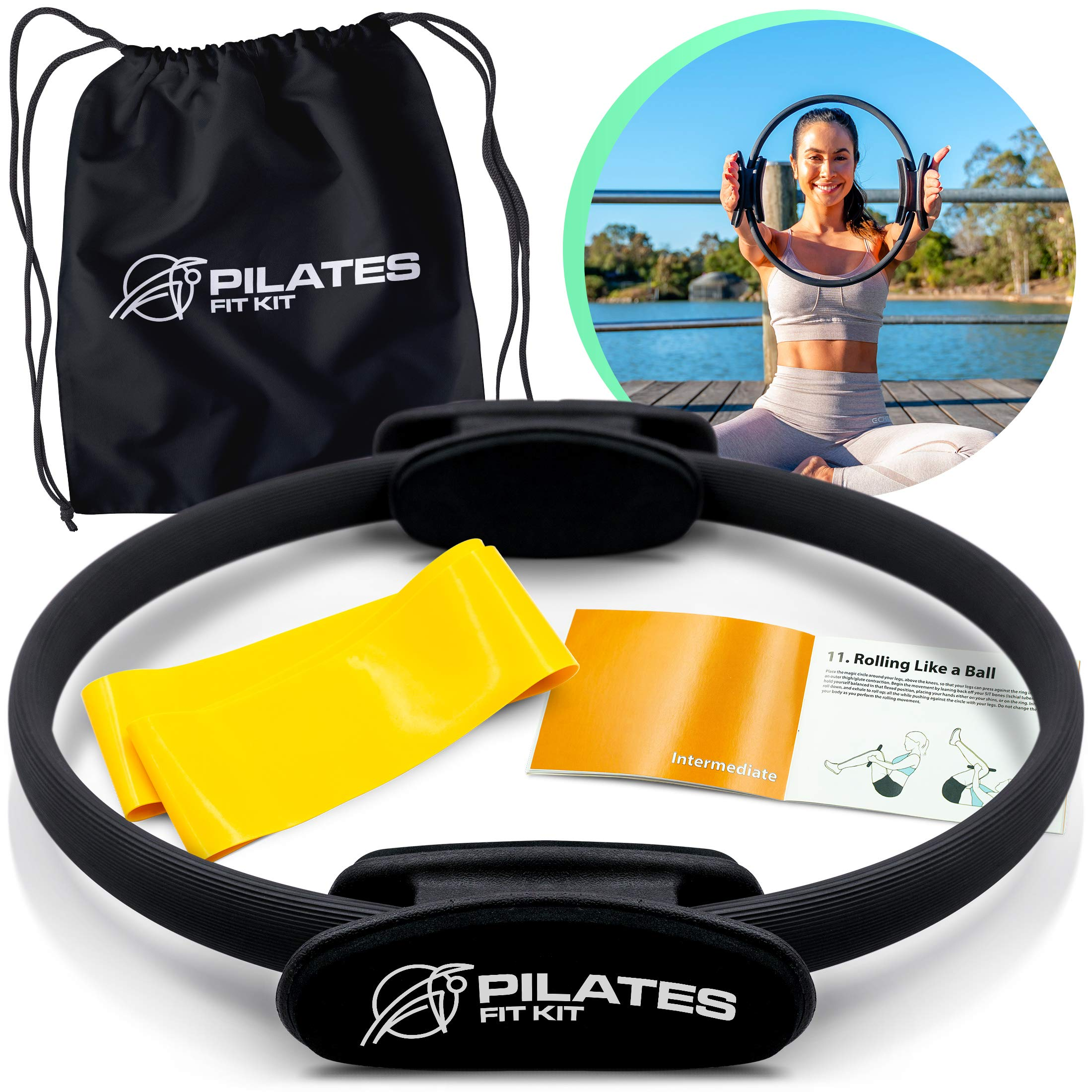 Pilates FITKIT Magic Circle Ring 14 Inch – Total Body Weight Loss Resistance Training Workout, Heavy Duty Foam Dual Grip…