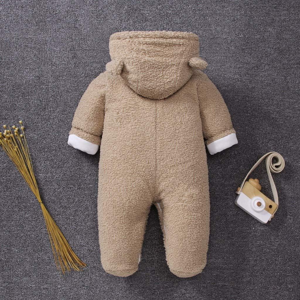 Longra Baby Strampler Fleecejacke Winter Cartoon Winterjacke mit Kapuze Langarm Mantel Jumpsuit Sweatjacke /übergangsjacke