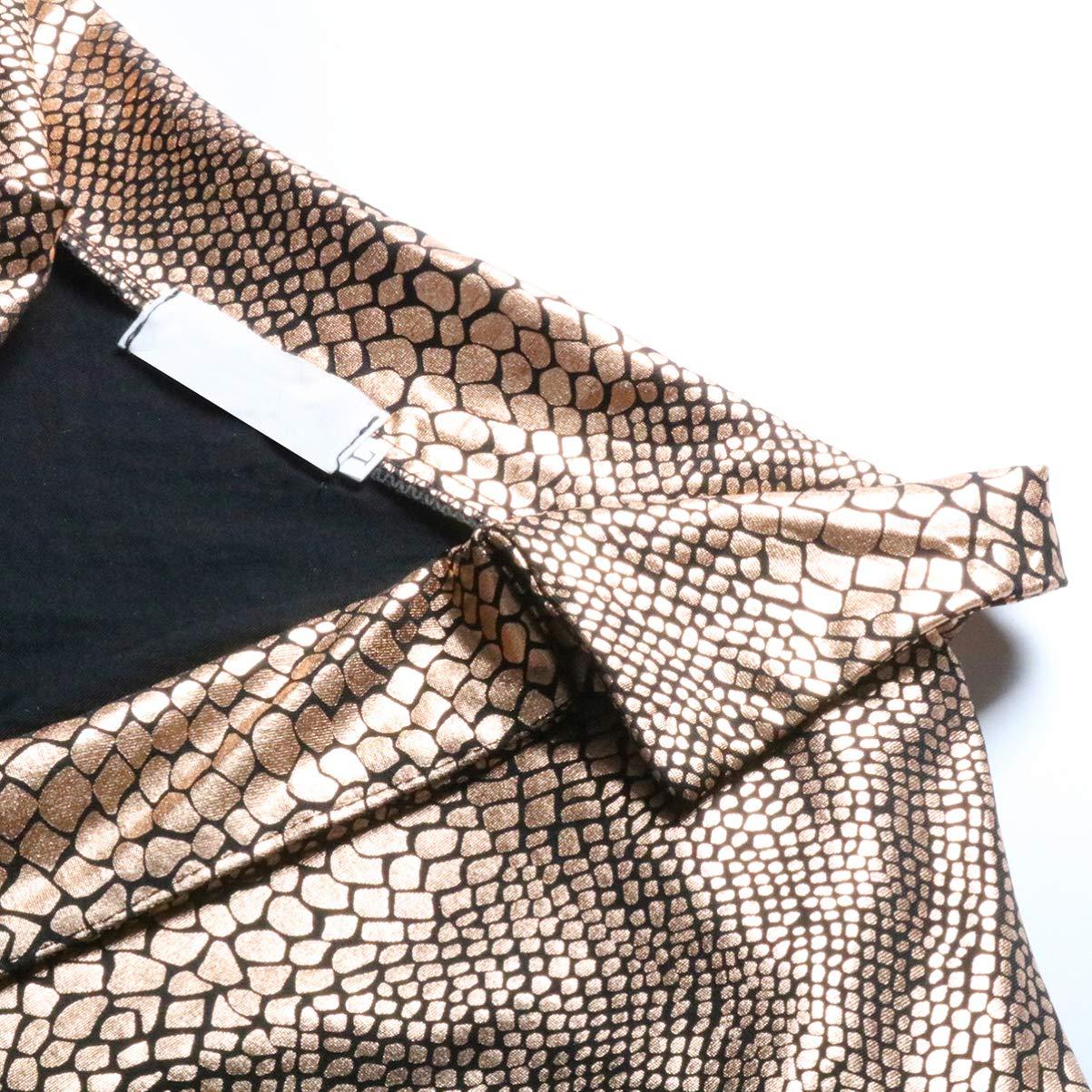 Fenical Tuta da Donna Camicie Scollo av Profondo Stampa Leopardo Maniche Lunghe abbottonata Tuta Top Taglia s Oro