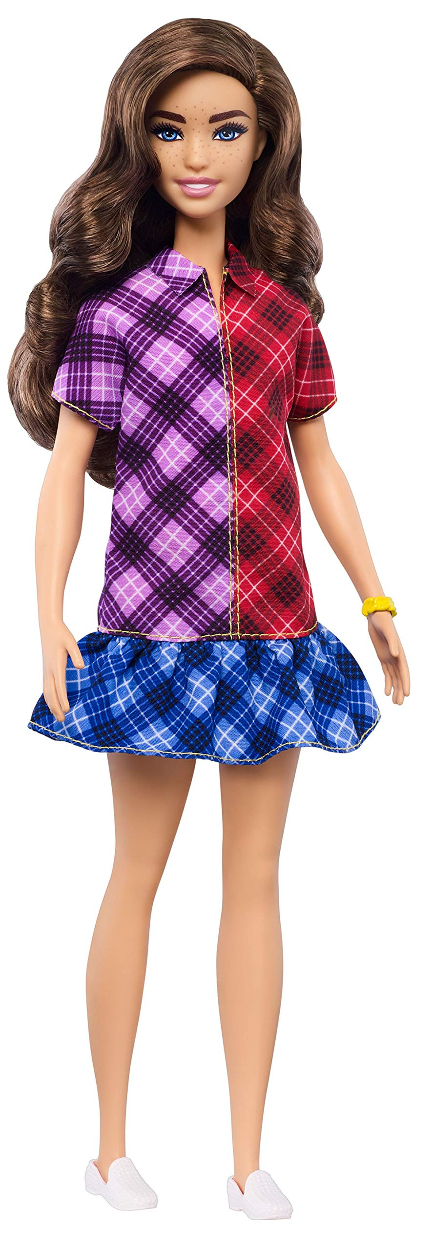 Barbie Fashionistas Doll with Long Brunette Hair Wearing Color-Blocked Plaid Dress and Accessories, for 3 to 8 Year Olds 