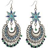 Zephyrr Jewellery German Silver Afghani Floral Dangler Hook Chandbali Earrings