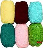 Vardhman Wool Ball Hand Knitting Art Craft Soft Fingering Crochet Hook Yarn, Needle Knitting Thread Dyed 6 Pc (150 Gm) (Pack Of 6)