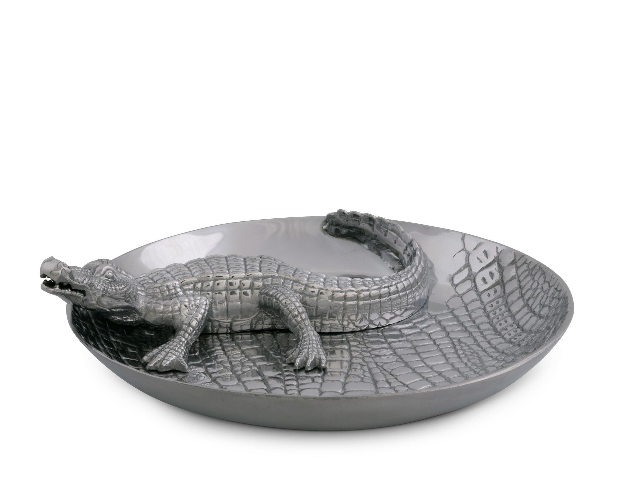 Arthur Court Designs Aluminum Alligator Chip and Dip 14''