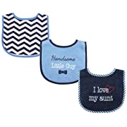 Luvable Friends 3 Piece Drooler Bibs with Fiber Filling for Boys, I love Aunt