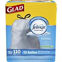110-Count Glad OdorShield Tall Kitchen Drawstring Fresh Clean 13-Gallon Trash Bags