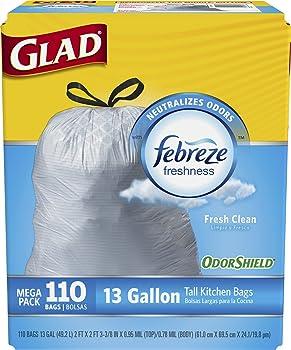 110-Count Glad OdorShield 13-Gallon Drawstring Trash Bags
