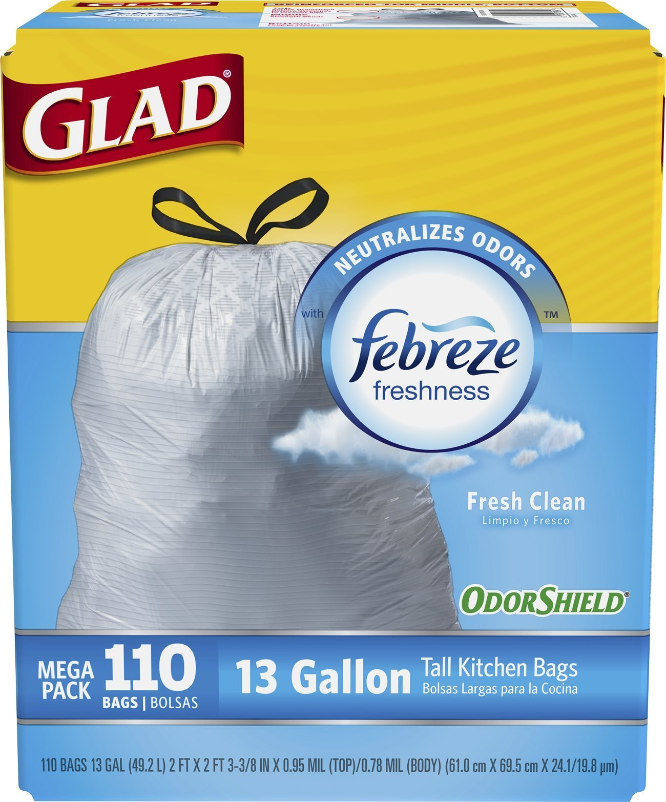 Glad OdorShield Tall Kitchen Drawstring Fresh Clean Trash Bags 13 ...