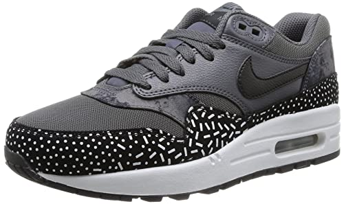 the best attitude 08fe4 b39cd Nike Womens WMNS Air Max 1 Print, Dark GreyBlack-White-Mtllc