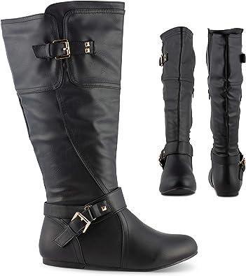Studded Flat Knee High Boots, Wide Calf