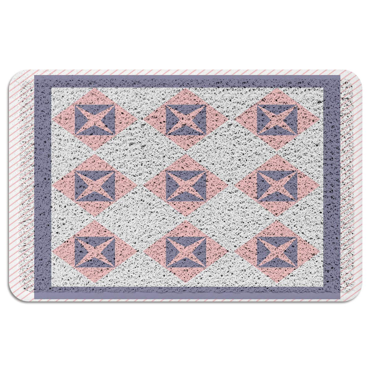MUSEDAY Indoor/Outdoor Doormat,Modern Durable Heavy Duty Shoes Scraper Mat, Purple and Pink Geometric Star Striped Easy Clean Rug for Pet Bowl(24''x35'',W x L)