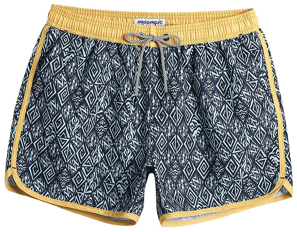 MaaMgic Mens Short Swim Trunks Boys Quick Dry Beach Broad Shorts Swim Suit with Mesh Lining
