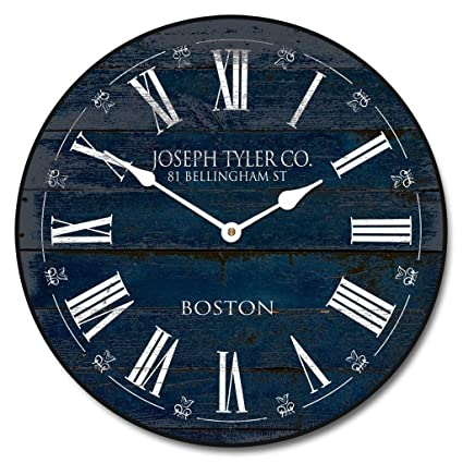 Barnwood Navy Blue Wall Clock, Available in 8 Sizes, Most Sizes Ship The Next