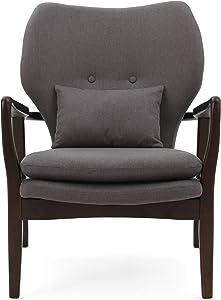 Christopher Knight Home Haddie Wood with Fabric Club Chair, Dark Grey / Dark Espresso Finish