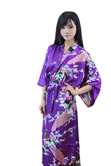 89edb091c8 Image Unavailable. Image not available for. Color  DaHeng Women Floral Satin  Robe Bridal Dressing Gown Wedding Bride Bridesmaid Kimono Sleepwear