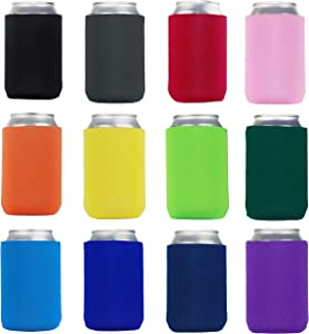 Beer Can Cooler Insulated Neoprene Sleeve Bottle Covers for Beer and Soda, Great For Monograms, DIY Projects, Weddings, Parties, Events (Assorted 12 Colors, 12 Pack)