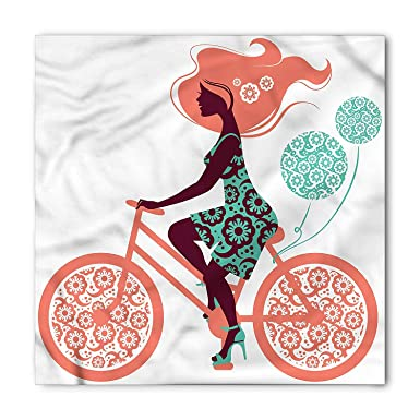 Floral Bandana, Coral Flowers Bikes Girl, Unisex Head and ...