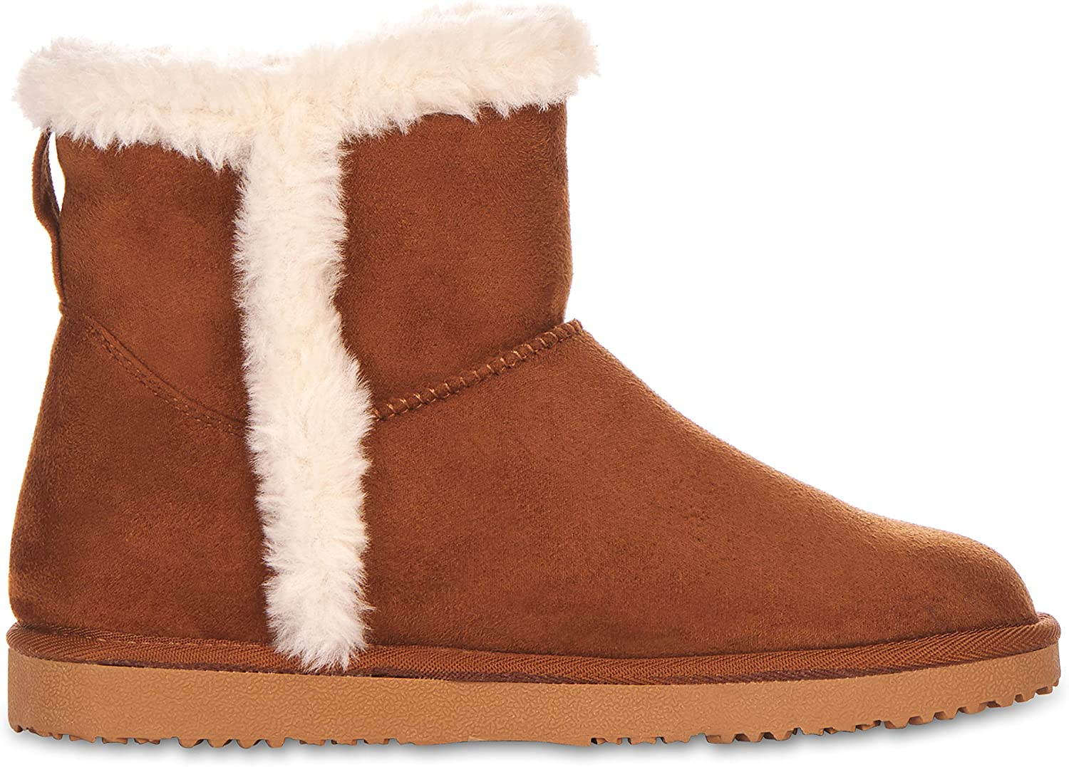 Faux Fur- Plush Interior- Anti-Skid Flat Sole Casual Everyday Wear Floopi Warm Winter Boots for Women- Classic Mid-Calf Cut Eco-Friendly Suede Exterior