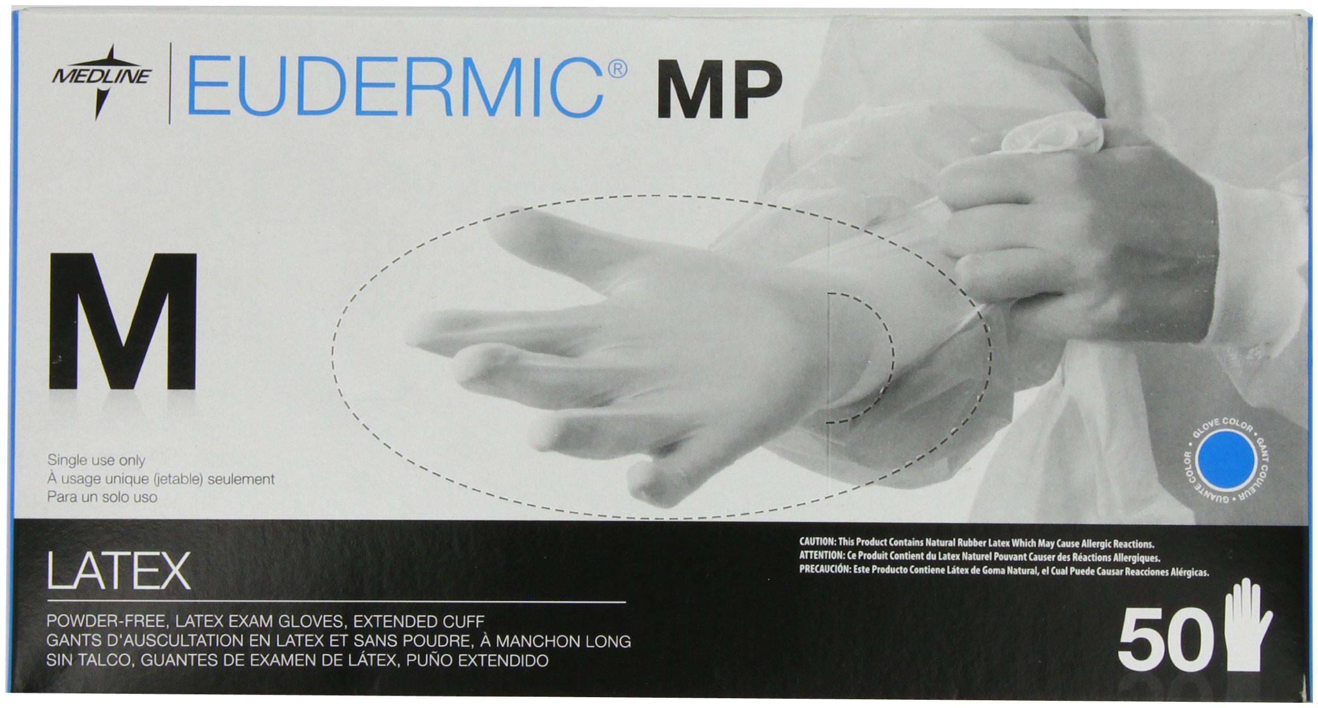 Medline Eudermic MP 12 Inches High Risk Exam Gloves, Medium, 50 Count