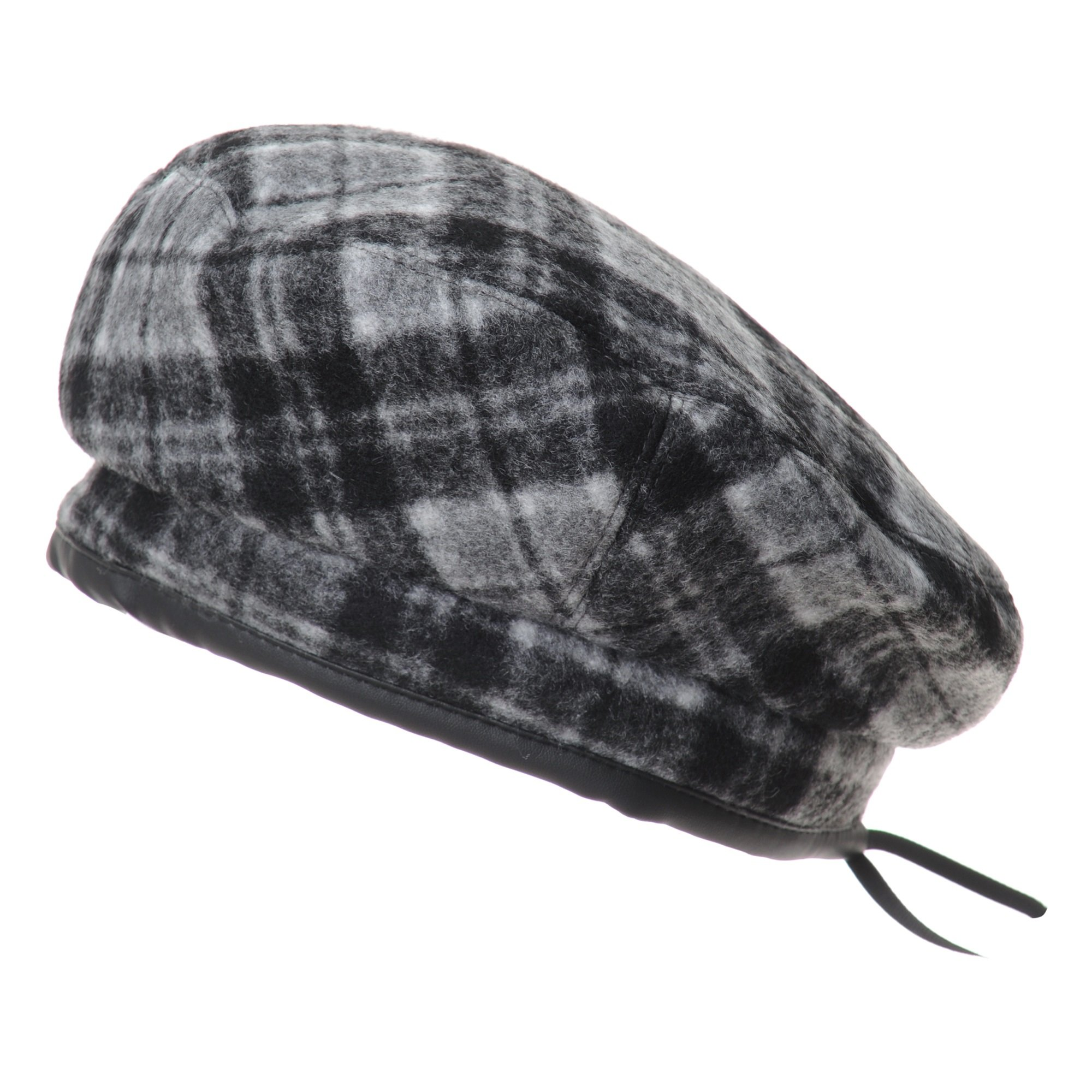 WITHMOONS Wool Beret Hat Tartan Check Leather Sweatband KR3781 (Grey)