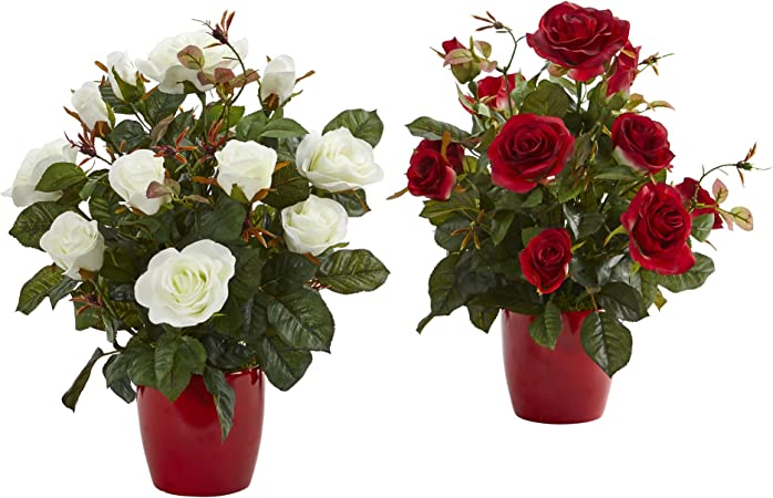 Nearly Natural Rose Artificial Plant In Red Planter Set Of 2 2 Piece Amazon Ca Home Kitchen