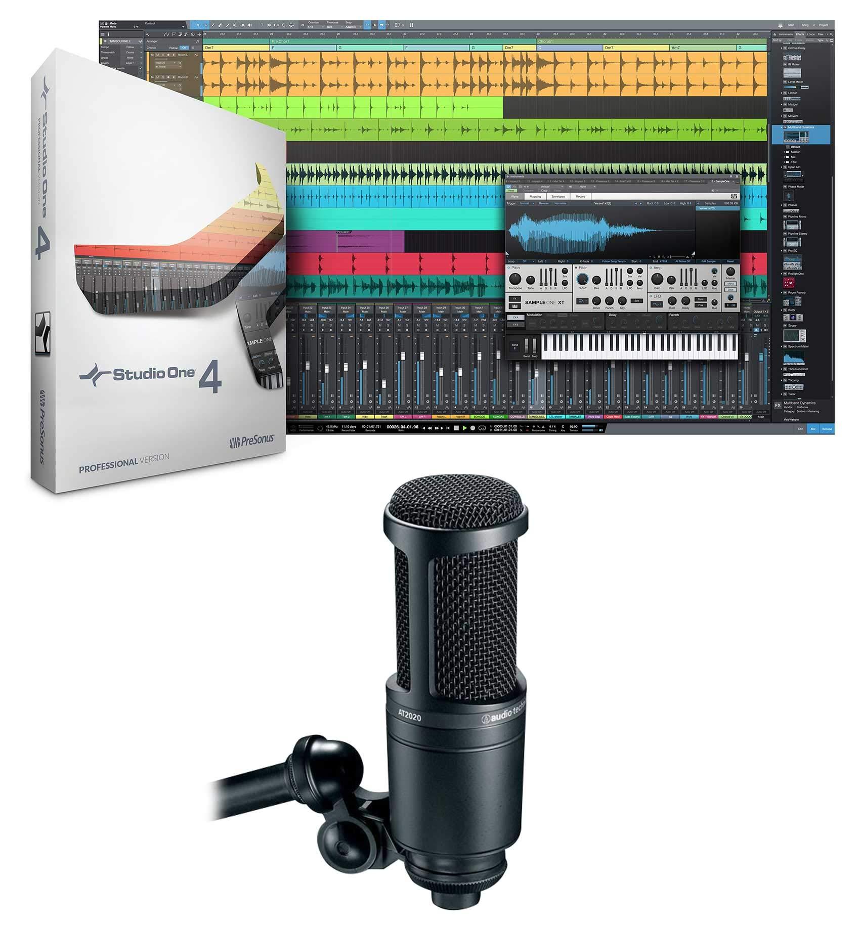 Presonus Studio One 4 Professional MIDI DAW Full Software + Audio Technica Mic by PreSonus