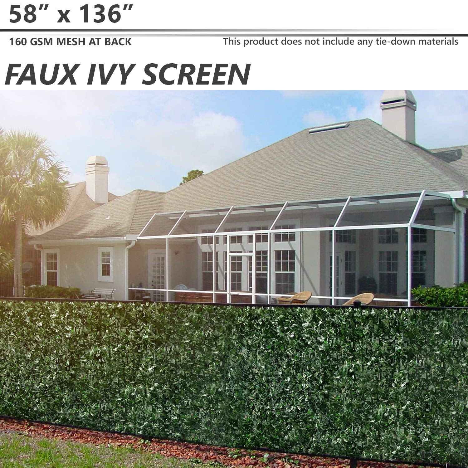 BOUYA 58 x 117 Fence Screen Faux Ivy Privacy with Mesh Back-Artificial Leaf Vine Hedge Perfect for Outdoor D/écor Garden Backyard Decoration Panels Fence Cover