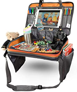 Kids Travel Tray, 4-in-1 Detachable Car Seat Tray, Travel Tray with Sturdy Base for Play & Activity, Tablet Holder with Touch Screen, Car Organizer with Large Pockets for Storage